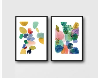 Set of 2 prints, Colorful Office Decor, Floral Wall Art, Watercolor Paintings, Botanical Art Prints