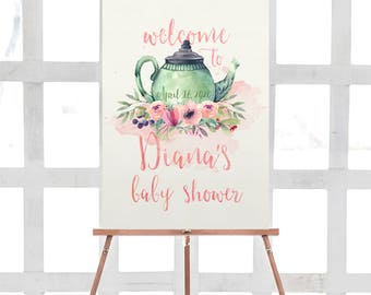 tea party baby shower welcome sign, printable baby shower sign, teapot baby shower, tea time baby shower, watercolor baby shower, girl