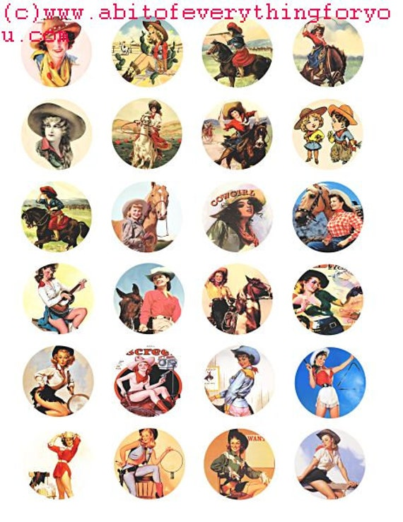 vintage cowgirls pinups postcards collage sheet 1.5 inch circles clip art digital download country western graphics images craft printables