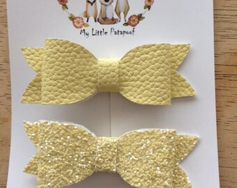 Set of 2 bows - hairclips - Yellow faux leather and yellow glitters