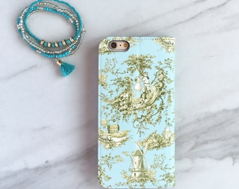 French Country Toile  Wallet Case Cottage Chic, iPhone 6 / 6S / 7 Plus Flip Case