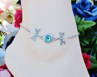 Women's Anklet Dragonfly Ankle Bracelet Silver Anklet Turquoise Swarovski Crystal Anklet Dragonfly Lover Gift Adjustable  Anklet Gift Boxed