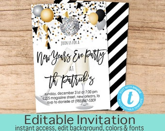 New years invite etsy new years eve party champagne invitation editable nye party new years party black stopboris Image collections