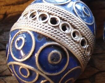 Enamel large Moroccan tarnished  marjorelle blue focal round barrel bead