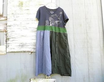 Langes Kleid, Sommerkleid, Schmetterling Kleid, Recycling-Kleidung, Tshirt, Upcycled Kleidung, Upcycled Kleid, romantisch, Boho, bis wieder eingeschaltet