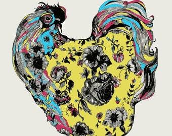 Chicken - Chicken Drawing -Chickens Love Tattoos  - Chicken Art Print