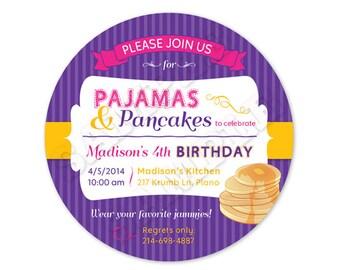 Printable Pajamas and Pancakes Birthday Invitation