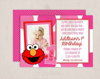 Big Pink Polka Dots Girl's Little Red Monster Custom Birthday Party Printable Invitation