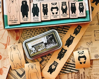 Bear Family Stamp Set, Taiwanese Vintage Bear Stamps, Polar Bear, Panda, Sun Bear, Black Bear, Animal Stamp
