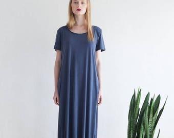 Blue Long Dress,Summer Maxi Dress, Short Sleeves Dress,Oversize Blue Dress