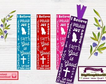Faith Christian Bookmarks, Bookmarkers, Hanging Tags -  Printable Digital File & Instant Download