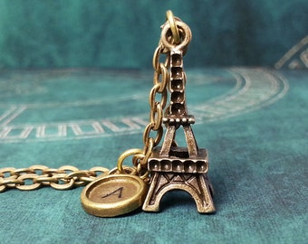 Eiffel Tower Necklace, Personalized Necklace, Hand Stamped Necklace, Initial Necklace, Paris Necklace, France Necklace, Charm Necklace