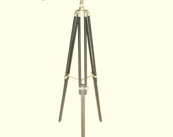 Large telescopic brass leather casing with wooden stand 160 cm*