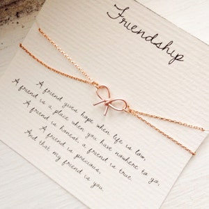 Friendship, friendship bracelet, bow bracelet, rose gold bow bracelet, best friend bracelet, best friend jewelry, friendship quote bracelet