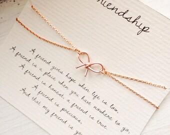 Friendship, friendship bracelet, bow bracelet, rose gold bow bracelet, best friend bracelet, best friend jewelry, friendship quote bracelet