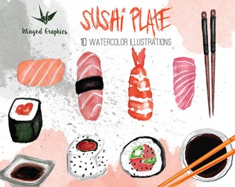 Sushi Time: Digital watercolor clipart