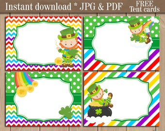 St. Patrick's Day Food Tent labels Place cards. leprechaun Buffet Candy bar Blank labels. Saint Patrick Day Party printable. Free tent cards