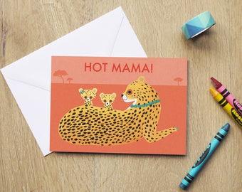 Hot Mama Cheetah Mother's Day Illustration 4x6 Greeting Card