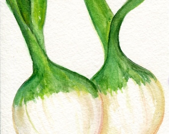 Green Onions Original Watercolor Painting, Small Watercolors Vegetable Painting, Kitchen Wall Art, 4 x 6, original painting Farmhouse decor