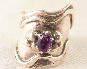 SALE ---- Size 5.5 Handmade Vintage Sterling and Amethyst Finger Cuff Ring