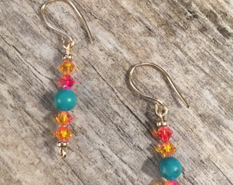 Turquiose and Swarovski fire opal crystals and 14k gold spacer bead earrings