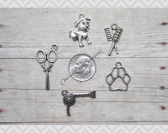 MINI Charm Set / 5 Pieces / Dog/Pet Groomer Charm Set Lot Collection/ Jewelry,Scrapbooking /Choose Split Rings,Lobster Clasps,European Bails