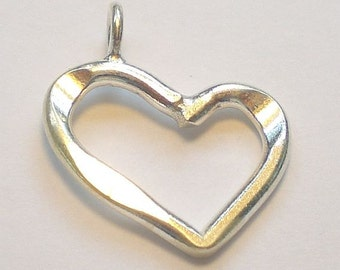 Open Heart Pendant Karen Hill Tribe Fine Silver Hammered 24mm Thai Silver 1 pc. HT-270