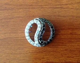 Yin yang sapphire topaz sterling  silver pendant