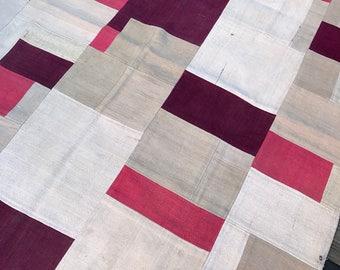 Good & Plenty Vintage Patchwork Kilim, 5x5, pink, white
