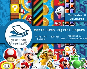Mario Bros Digital Papers - 8 Designs 12x12in, 30x30 cm - Ready to Print - High Quality