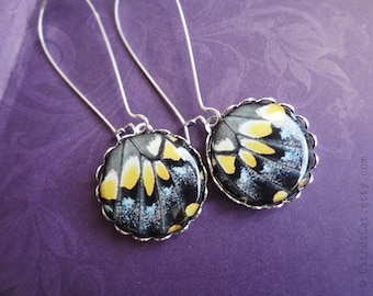 Black and yellow butterfly wings earrings. Butterfly earrings, butterfly jewelry, black earrings, evening jewelry, butterfly wings jewelry