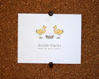Ostrich Baby Thank You Cards. Baby Shower Thank You Cards. Baby Thank Yous. Personalized. Eggs in Nest. (Set of 10)