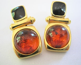 Door Knocker Earrings by Joan Rivers*Black Enamel Amber Crystal Clip Earrings*Swarovski Crystal*Retired Joan Rivers Jewelry*1990's Earrings