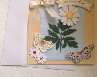 Mother's Day Card/Handmade/3D/Partly Embossed/Yellow Background with Blue Embossed Overlay/Shasta Daisy/ Butterflies/Bow/Sentiment