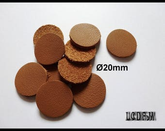 * ¤ 10 round #2 - diameter 20 mm Camel colored leather ¤ * #C12