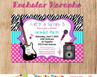 ROCK STAR KARAOKE invitation - You Print - with or without photo