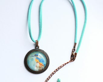 Kingfisher Necklet, Copper and Turquoise Necklace, Vegan Suede Necklace, Kingfisher Jewellery, Blue Cord Necklace, Amanda Drage Art
