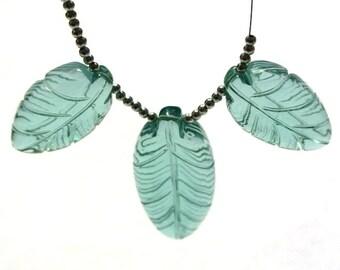 3Pcs Set AAA Aqua Quartz Carved Leaf Briolette Size 28x16 - 37x19mm Trio Match Pair Focal Pendant Jewelry Supplies