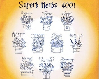 Superb Herbs #4001 Aunt Martha's Hot Iron Embroidery Transfer pattern