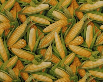 Corn Husks - Food/Vegetables/Cooking - 100% Cotton Fabric [[by the half yard]]