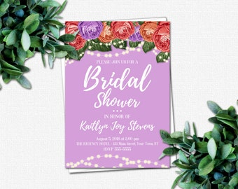 DIY Bridal Party Invitations - Wedding Shower Invitation - PRINTABLE Bridal Shower Invitations - 4 Color Choices   Roses & Sparkles Colors