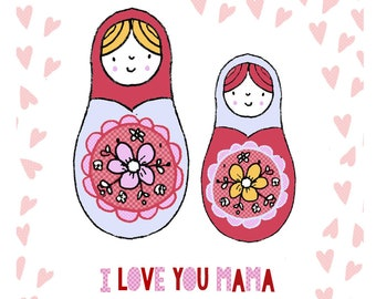 Mother's Day Card - Cute Russian Doll Matryoshka - Funny Greeting Card