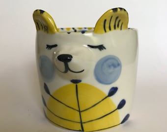 Blue and Yellow Bear Planter