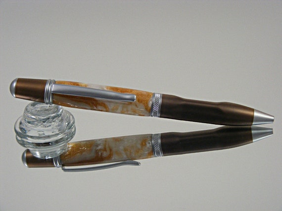 Contour Grip Ink Pen in Dark Coffee/Satin Chrome and Copper Pearl Acrylic