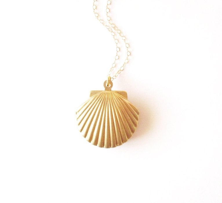 Gold Shell Locket Gold Shell Necklace Seashell Locket Seashell