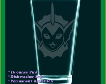 Vaporeon Pokemon gift - Etched glass, pint, tumbler, beer, water, milk