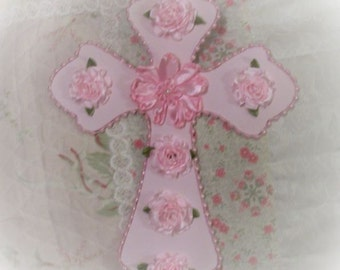 Lovely Pink Shabby Roses Lt Pink CROSS for your Feminine Cottage Chic Style Decor Gift-Giving