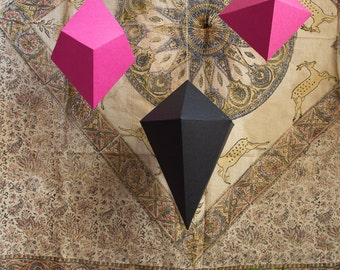 Set of 3 LARGE Paper Gems • Big Paper Polyhedra • Geometric Wedding Backdrop • Hanging Decoration
