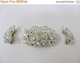 On Sale Vintage Large Aurora Borealis Crystal Cluster Pin and Earring Set Item K # 2456