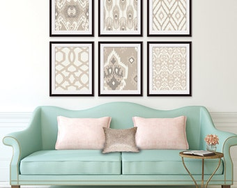 Ikat and Geometric Patterns (Series G2) Set of 6 - Art Prints (Featured in Shades of French Grey ) Navy Blue Ikat Wall Art